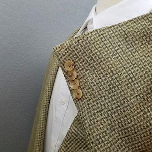 Hickey Freeman Houndstooth Check Silk Wool Blazer